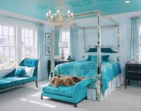 Интерьер спальни в бирюзовом цвете фото