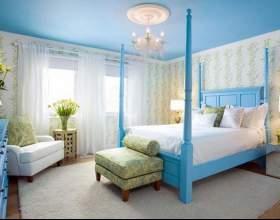 Интерьер спальни в голубом цвете фото