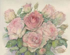 Как нарисовать розу красками фото