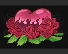 Как нарисовать сердце с розами поэтапно фото