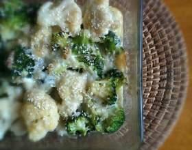 Как приготовить гратен из брокколи и цветной капусты фото
