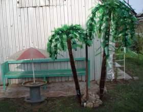 Как сделать дачное украшение дерево из пластиковых бутылок фото