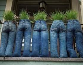 Как сделать кашпо из старых джинсов фото