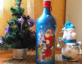 Как сделать новогодний декупаж бутылки своими руками фото