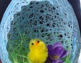 Как сделать пасхальное яйцо-гнездо из ниток фото