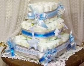 Как сделать торт из памперсов в подарок малышу фото