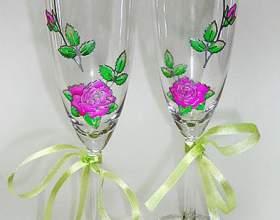 Как украсить бокалы на свадьбу своими руками фото