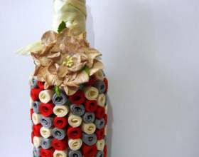 Как украсить бутылку лентами фото