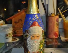 Как украсить бутылку на новый год фото