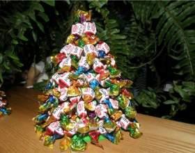 Новогодняя елка из лент в стиле артишок своими руками фото