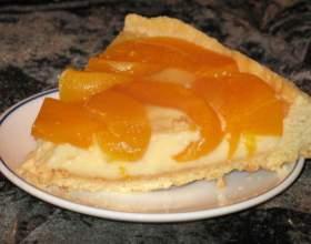 Персиковый пирог из песочно-лимонного теста фото