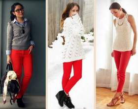 С чем носить красные джинсы фото