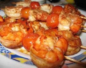 Шашлык из рыбы с креветками фото