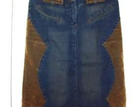 Как сшить из старых джинс юбку фото
