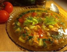 Суп со свининой и фасолью фото