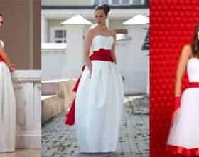 Свадебное платье с красной лентой фото