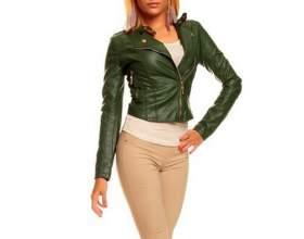 Женская куртка зеленого цвета фото